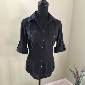 James Perse Black Button Up Collar Shirt